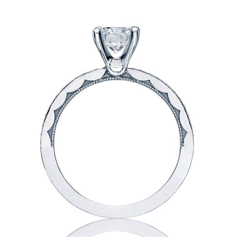Tacori 41-15RD6 Platinum Milgrain Half Way Engagement Sculpted Crescent Setting Edge View