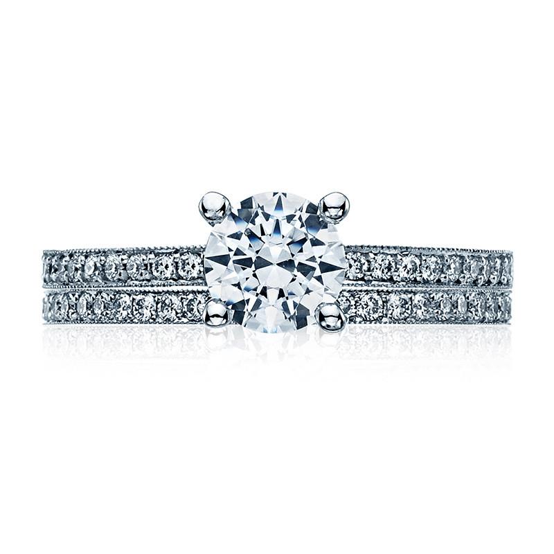 Tacori 41-15RD6 Platinum Milgrain Half Way Engagement Sculpted Crescent Setting with Band