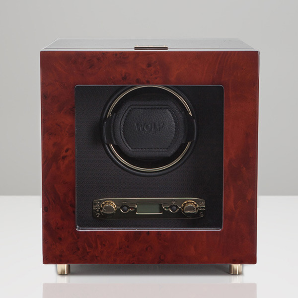 Wolf Burlwood Single Watch Savoy Winder Front View