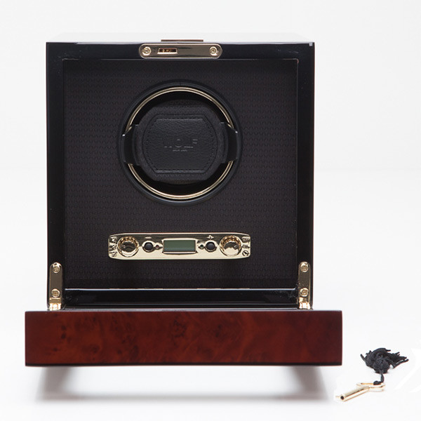Wolf Burlwood Single Watch Savoy Winder Open