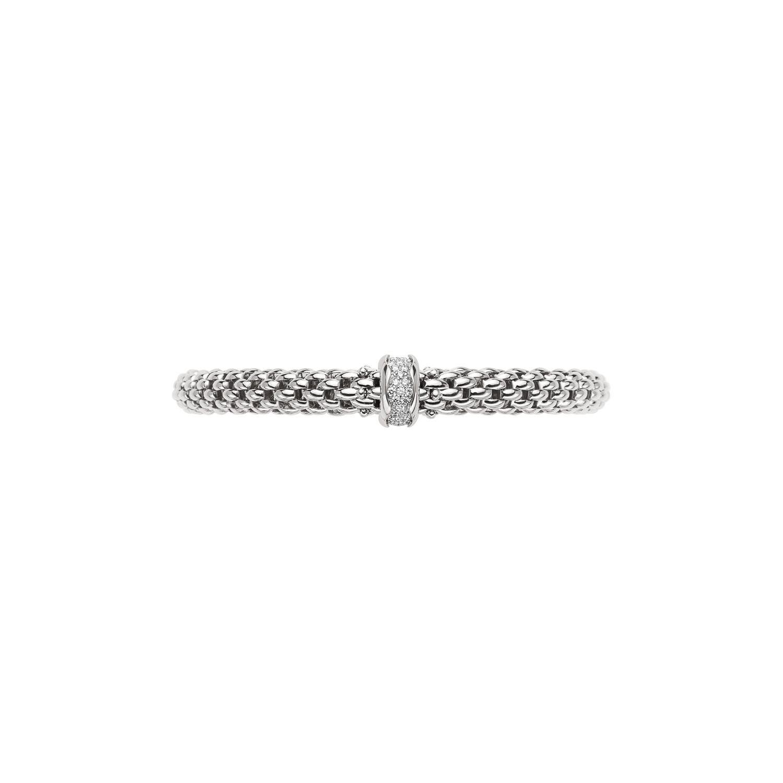 Fope Flex'it Wide 18K Gold and Diamond Station Bracelet front view
