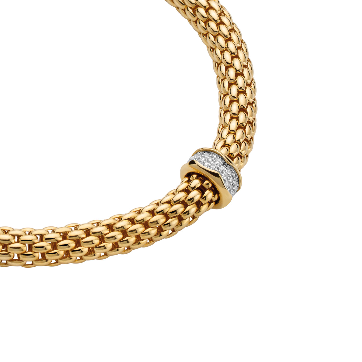 Fope Flex'it Gold Pavé Diamond Necklace