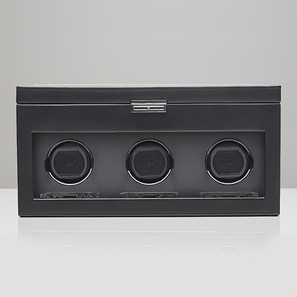 Wolf Black Triple Viceroy Watch Winder with Storage Front View