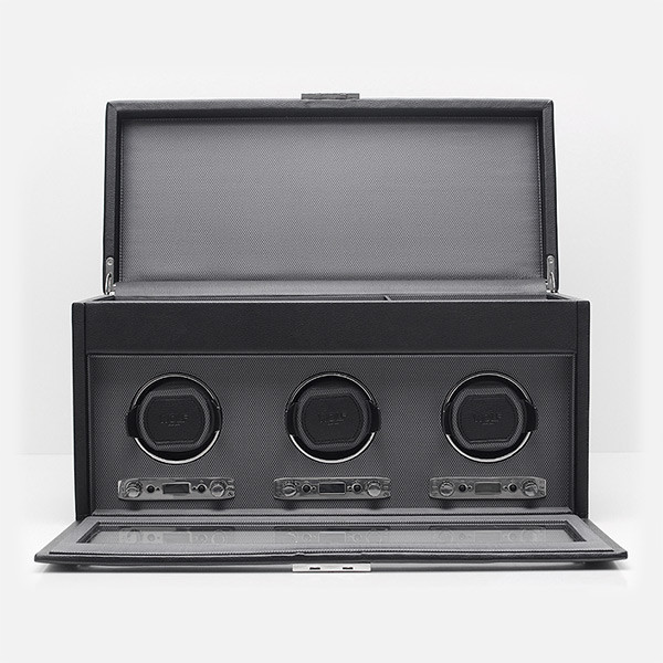 Wolf Black Triple Viceroy Watch Winder with Storage Open