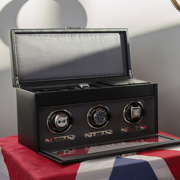 Wolf Black Triple Viceroy Watch Winder with Storage On Flag