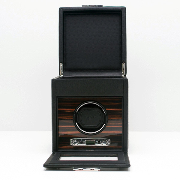 Wolf Black Single Roadster Watch Winder with Storage Open