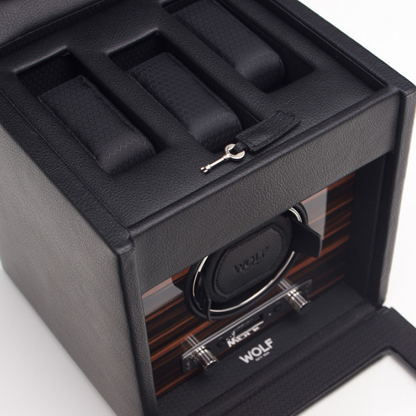 Wolf Black Single Roadster Watch Winder with Storage Close Up