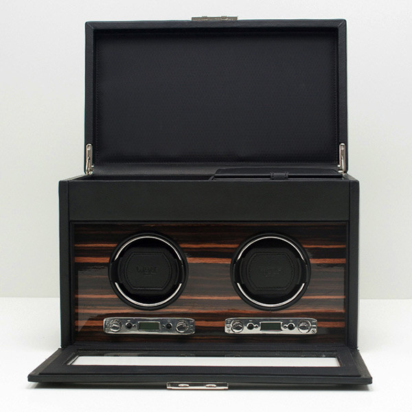 Wolf Black Double Roadster Watch Winder with Storage Open