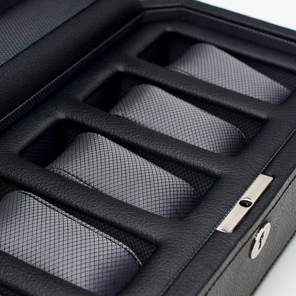 Wolf Black Five Piece Windsor Watch Box Close Up