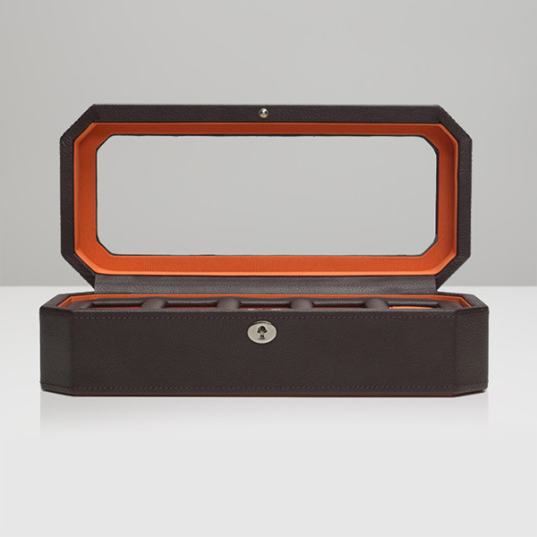 Wolf Brown & Orange Five Piece Windsor Watch Box Open