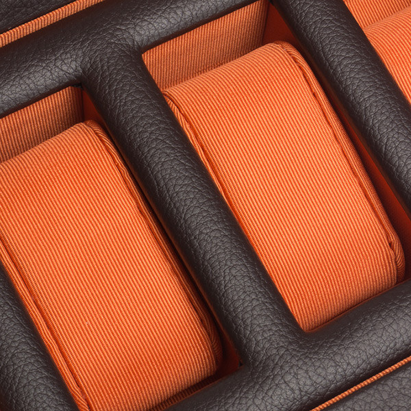 Wolf Brown & Orange Five Piece Windsor Watch Box Close Up