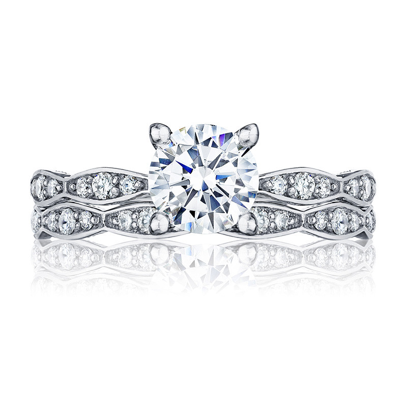 Tacori 46-2RD5 Platinum Scallop Half Way Engagement Sculpted Crescent Setting with Band