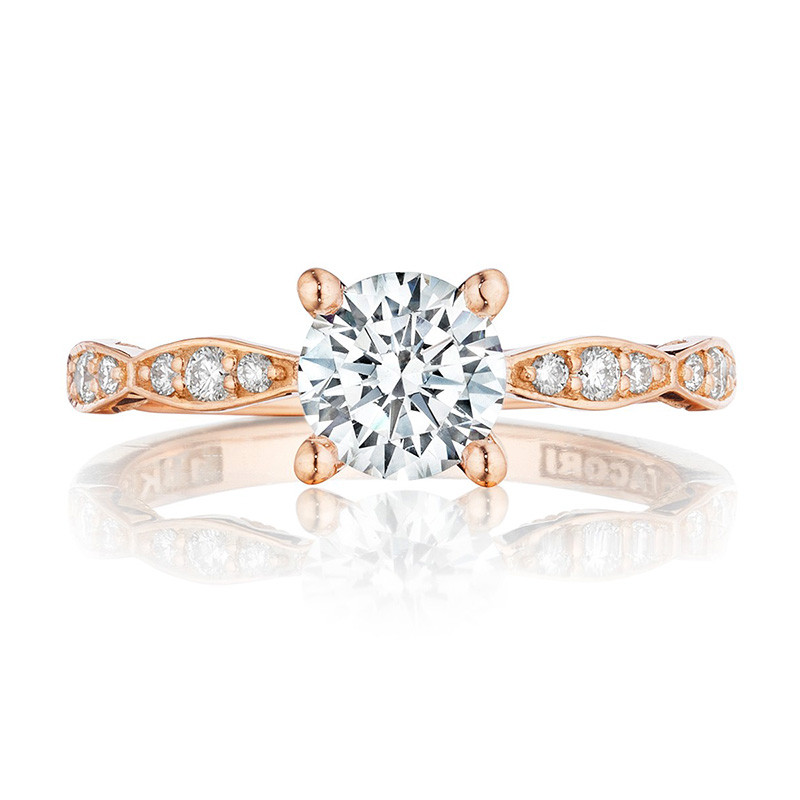 Tacori 46-2RD5 Rose Gold Scallop Half Way Engagement Sculpted Crescent Setting Top View