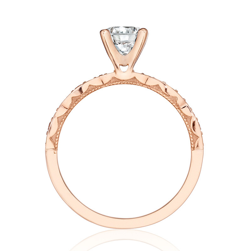 Tacori 46-2RD5 Rose Gold Scallop Half Way Engagement Sculpted Crescent Setting Edge View