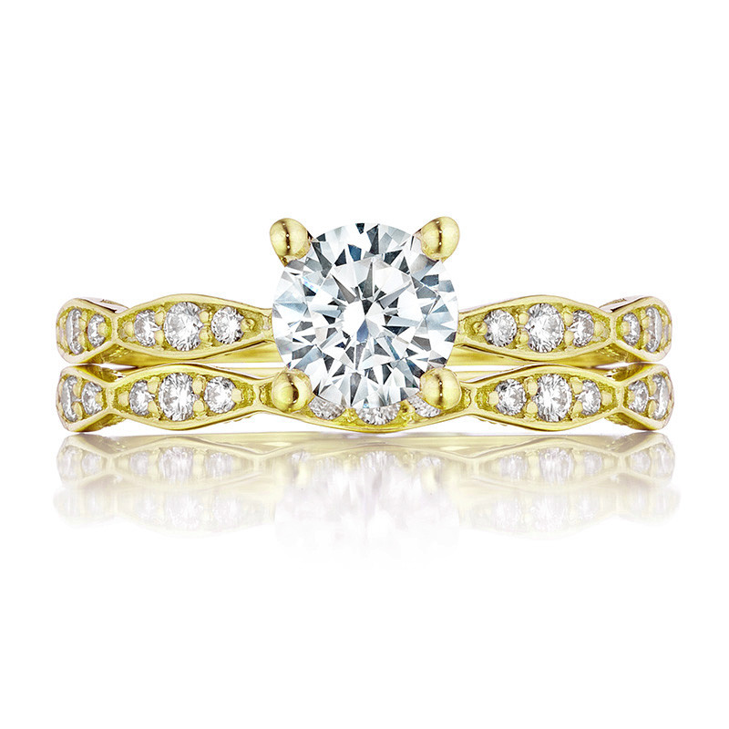Tacori 46-2RD6 Yellow Gold Scallop Half Way Engagement Sculpted Crescent Setting with Band