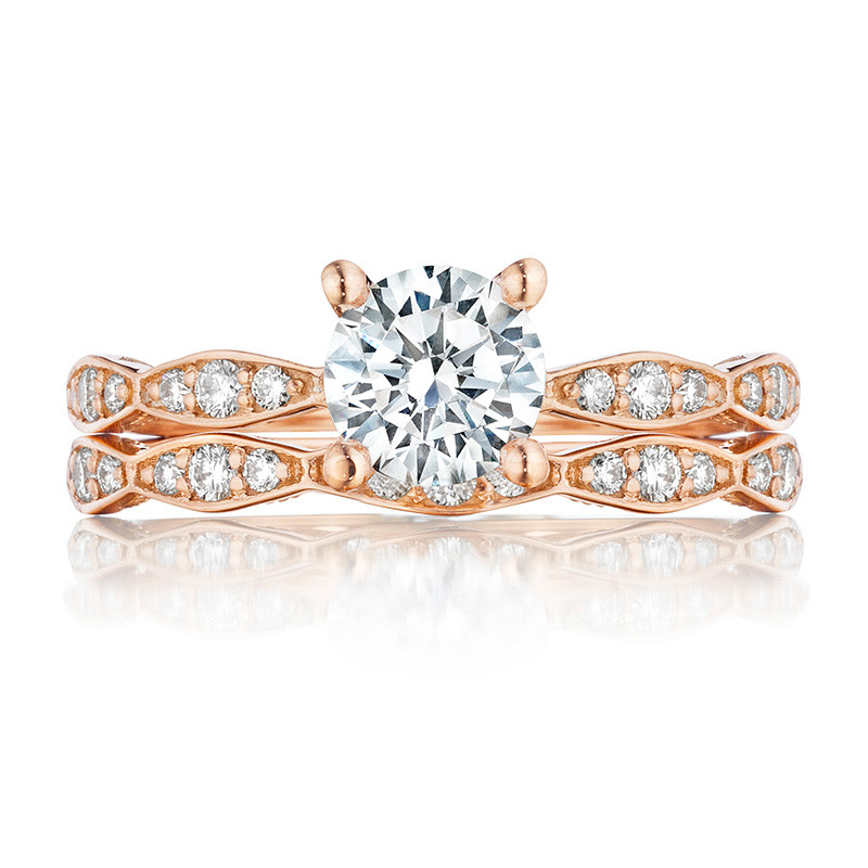 Tacori 46-2RD5 Rose Gold Scallop Half Way Engagement Sculpted Crescent Setting with Band
