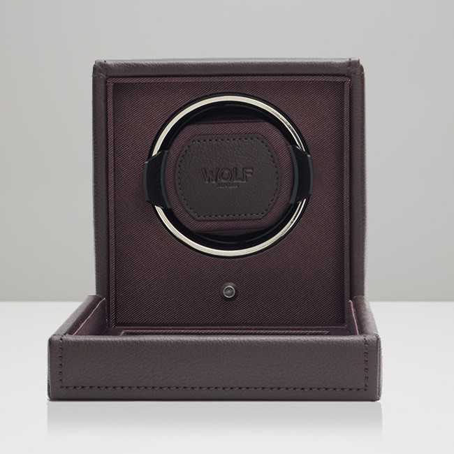 Wolf Small Brown Leather Cub Watch Winder Open View