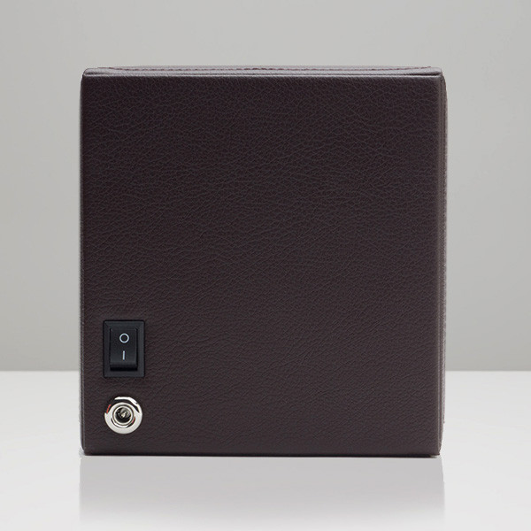 Wolf Small Brown Leather Cub Watch Winder Back View