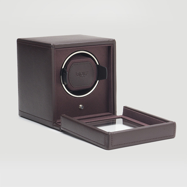 Wolf Small Brown Leather Cub Watch Winder Side View