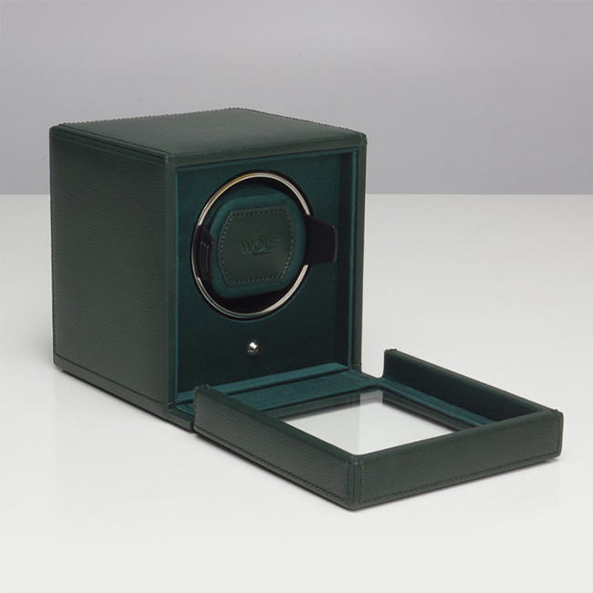 Wolf Green Leather Cub Cube Watch Winder Open Side View
