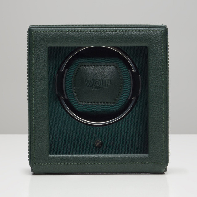 Wolf Green Leather Cub Cube Watch Winder