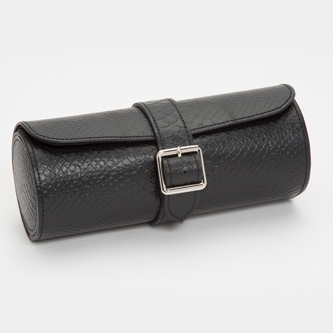 Wolf Black Python Leather Blake Watch Roll Side View