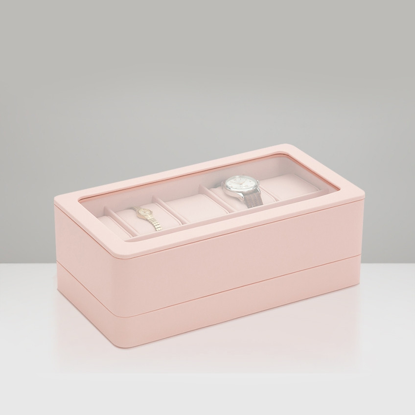 Wolf Rose Quartz 6 Piece Smart Watch Storage Box Angle View