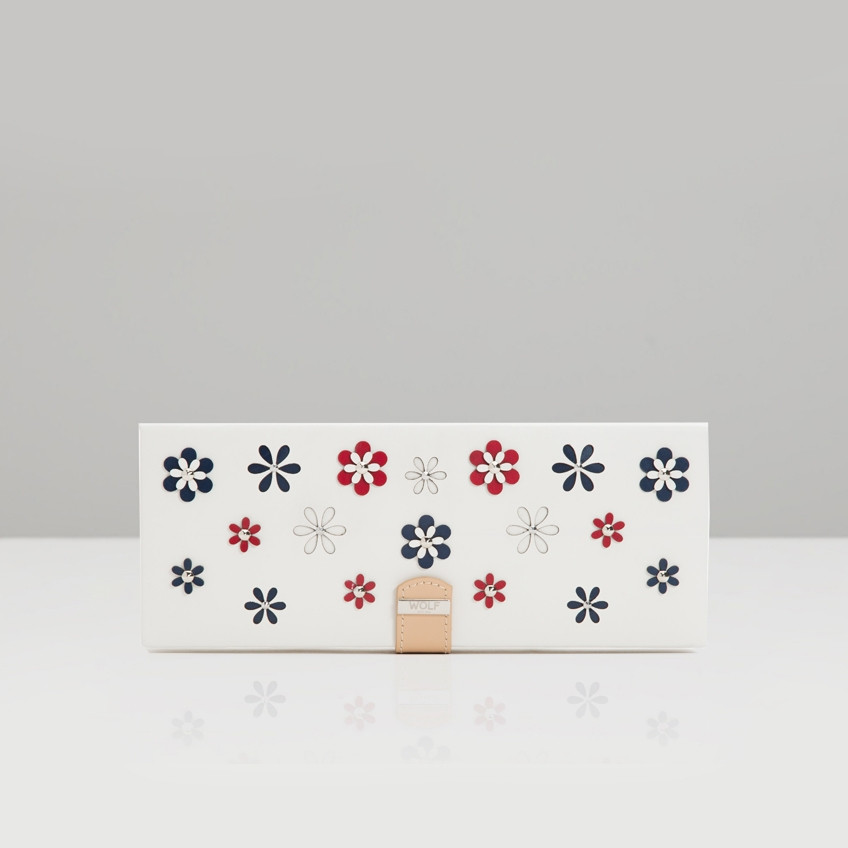 Wolf White Leather Blossom Flower Safe Deposit Box Front View