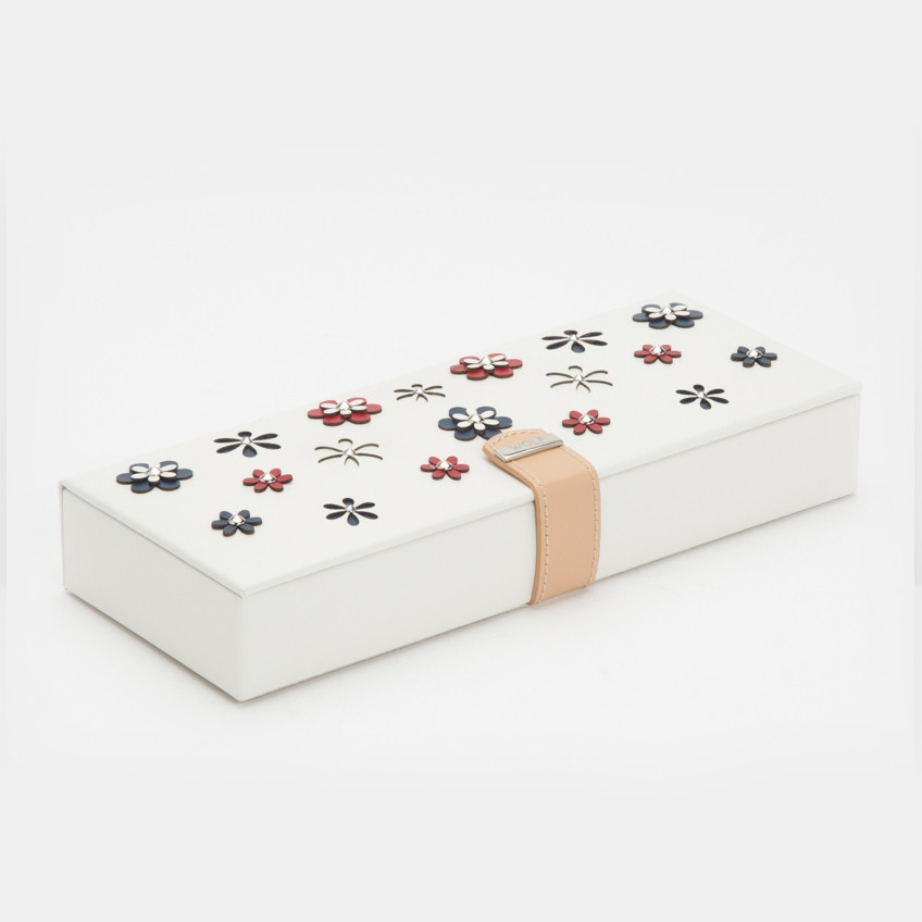 Wolf White Leather Blossom Flower Safe Deposit Box Angle View
