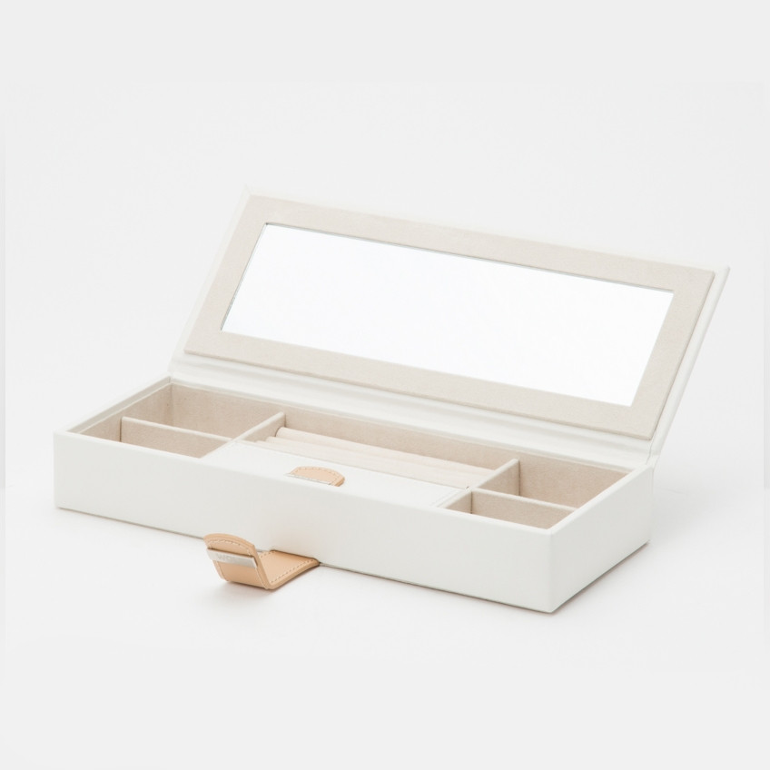 Wolf White Leather Blossom Flower Safe Deposit Box Open View