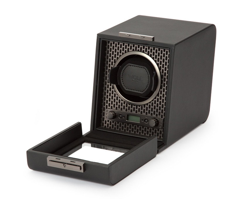 Wolf Axis Powder Coat Single Watch Winder Opened View
