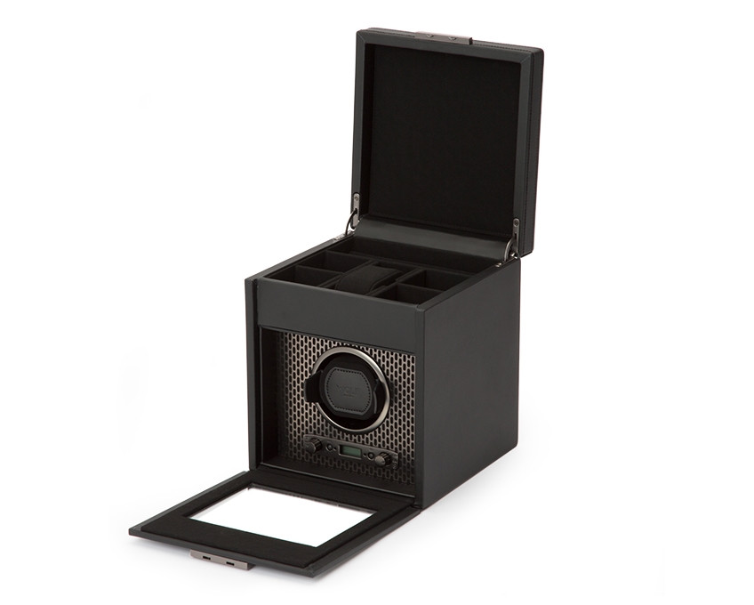 Wolf Single Watch Winder Storage in Powder Coat Opened View