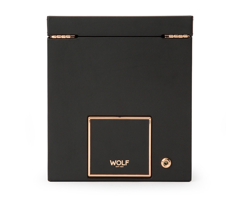Wolf Single Watch Winder with Storage in Copper Back View
