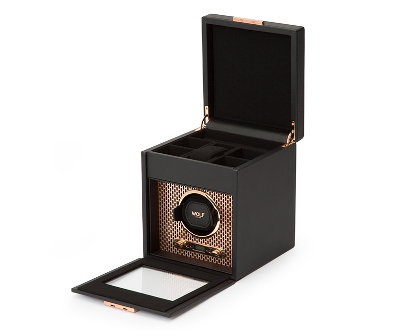 Wolf Single Watch Winder with Storage in Copper Open View