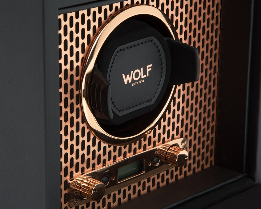 Wolf Single Watch Winder with Storage in Copper Close Up
