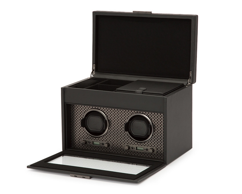 Wolf Axis Double Watch Winder Storage in Powder Coat Opened View