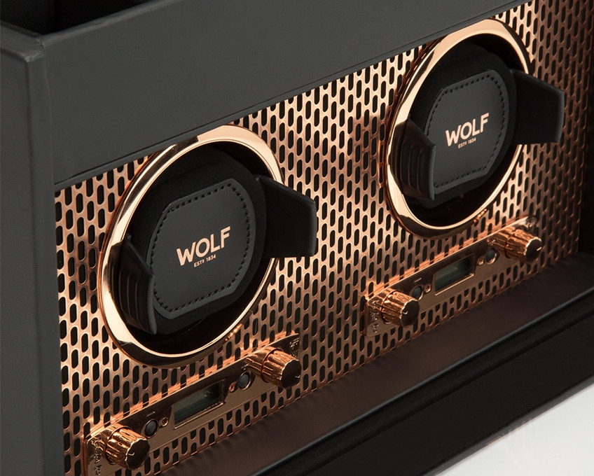 Wolf Double Watch Winder with Storage in Copper Close Up