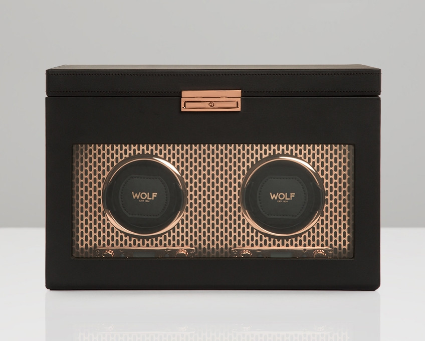 Wolf Double Watch Winder with Storage in Copper