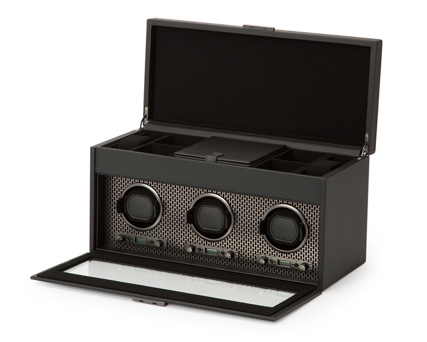 Wolf Axis Triple Watch Winder Storage in Powder Coat Opened View
