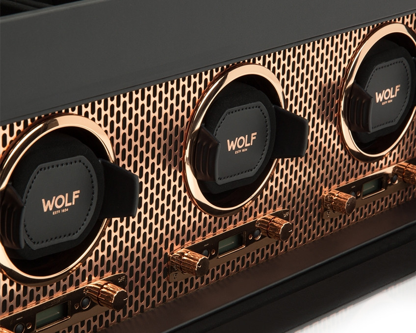 Wolf Axis Triple Watch Winder Storage in Copper Close Up