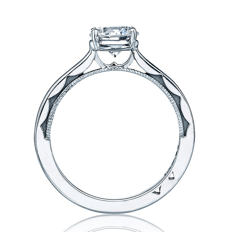 Tacori 48RD5 Solitaire White Gold Engagement Ring Sculpted Crescent Setting Edge View