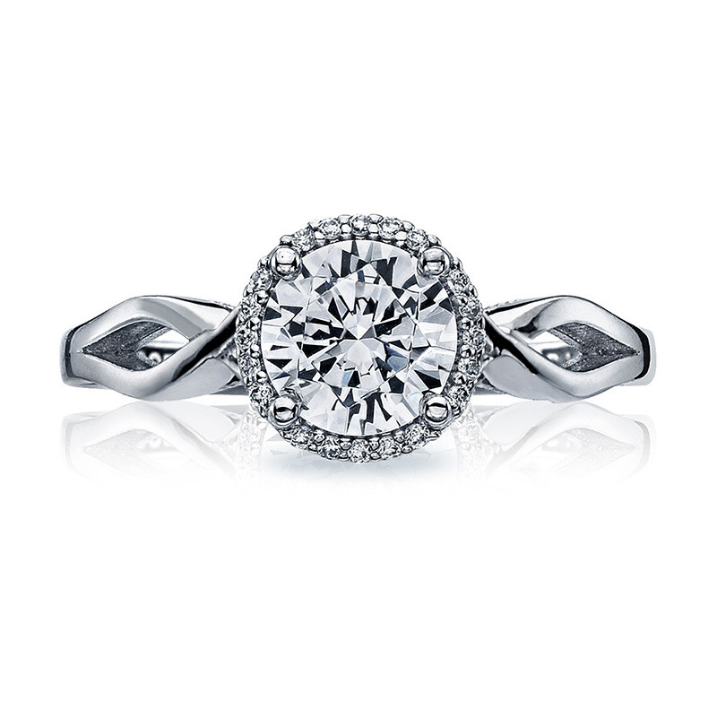Tacori 52RD6.5 Bloom Halo Twisted White Gold Engagement Sculpted Crescent Setting Top View