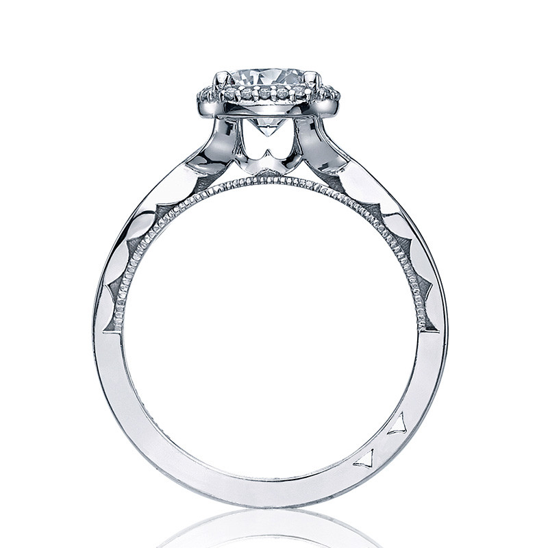 Tacori 52RD6.5 Bloom Halo Twisted White Gold Engagement Sculpted Crescent Setting Edge View
