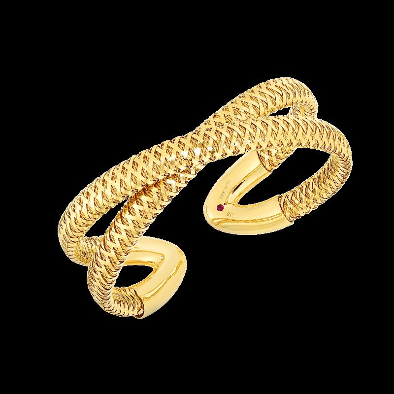 Roberto Coin Yellow Gold Primavera Criss-Cross Cuff Bangle