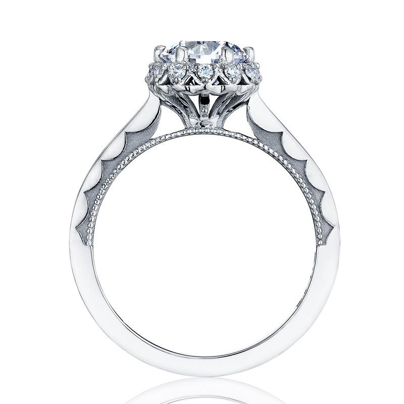 Tacori 59-2RD55 Platinum Floral Engagement Ring Sculpted Crescent Setting Edge View