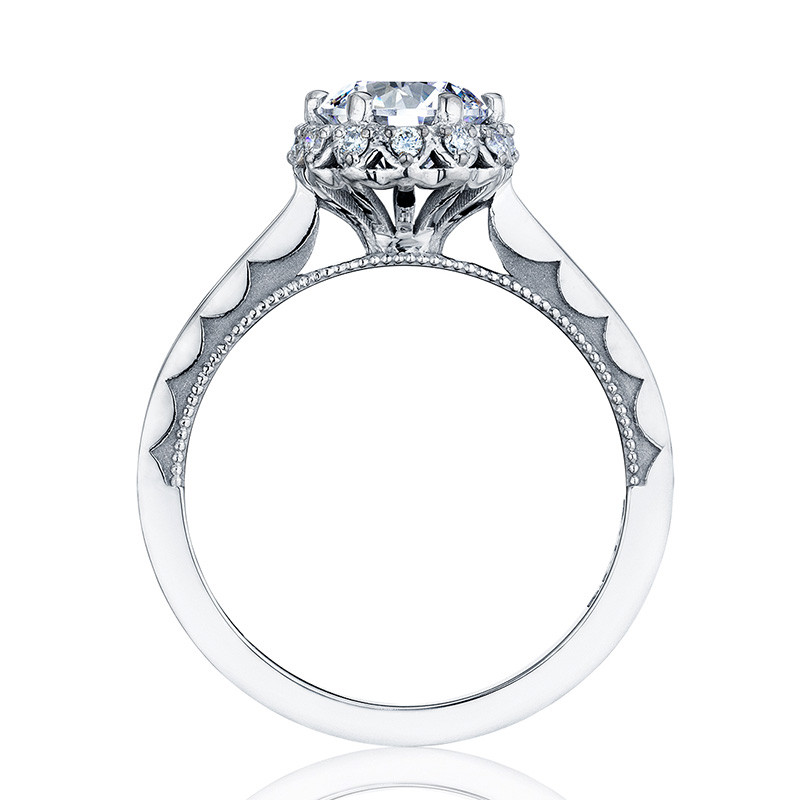 Tacori 59-2RD6-W White Gold Floral Engagement Ring Sculpted Crescent Setting Edge View