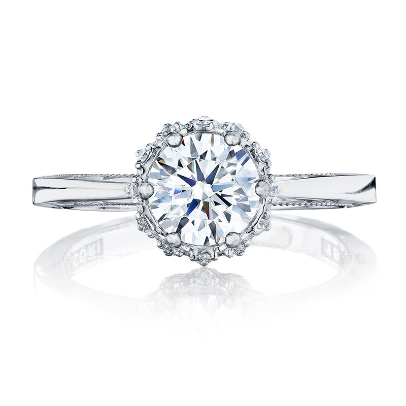 Tacori 59-2RD6-W White Gold Floral Engagement Ring Sculpted Crescent Setting Top View