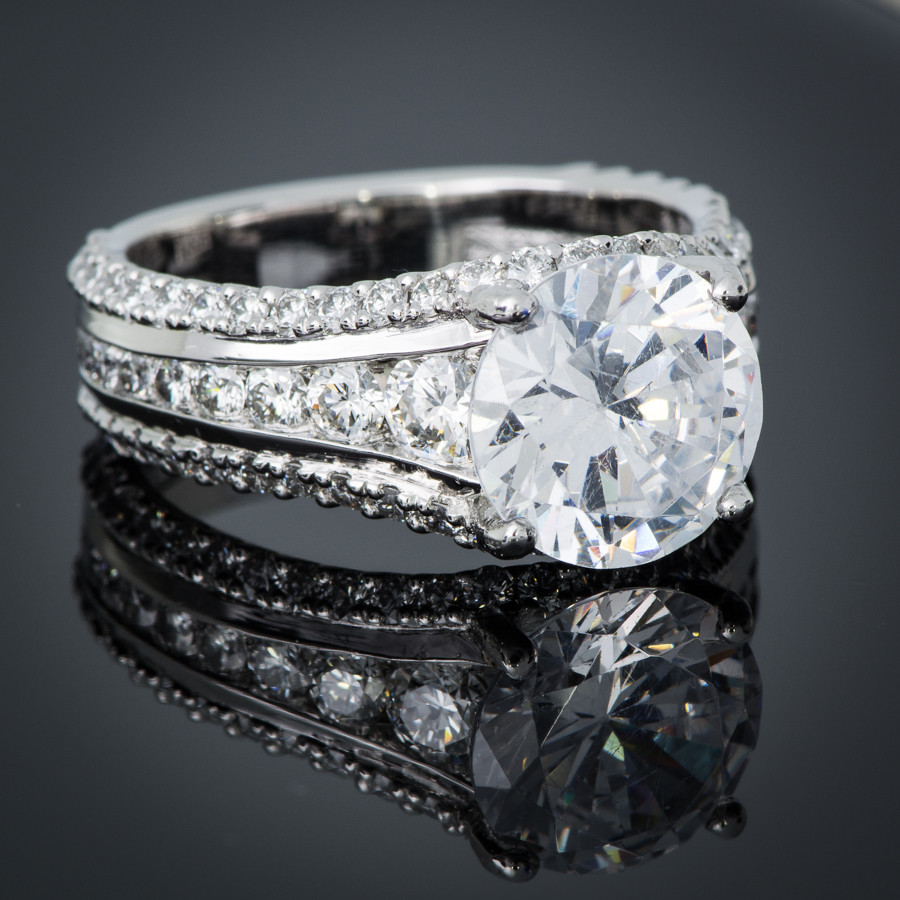 New Collection Platinum Channel Set Diamond Engagement Setting side