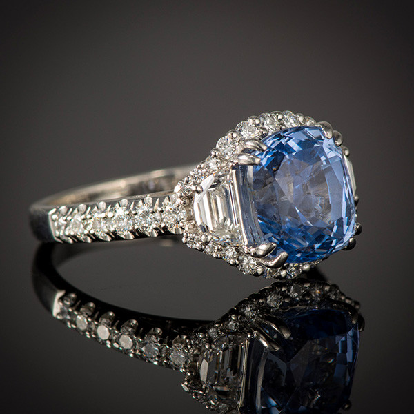 Robert Pelliccia New Vintage Sapphire Diamond Ring Angle View