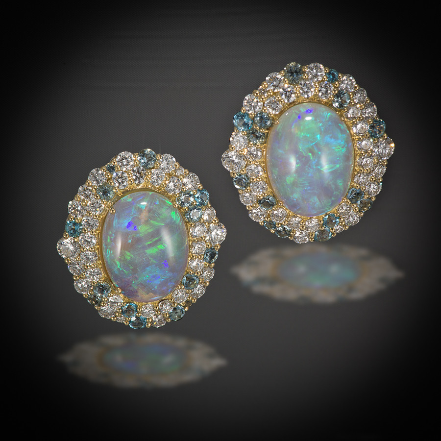 Yellow Gold Crystal Opal, Aquamarine & Diamond Earrings